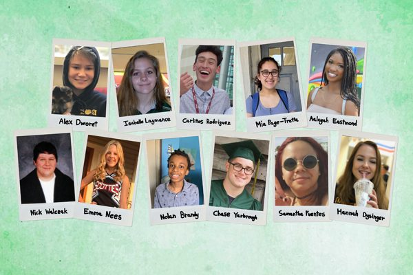 Pictured is a collage of survivor yearbook photos.
